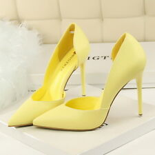 e45956a1aec9 Women Pointed Toe Pumps PU High Heels Stilettos Wedding Shoes US8 CN39  Yellow