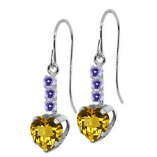 1.68 Ct Heart Shape Yellow Citrine Blue Tanzanite 925 Sterling Silver Earrings
