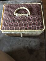 Small Vintage Plastic Wicker Floral Sewing Basket Box Pin Cushion Top Taiwan