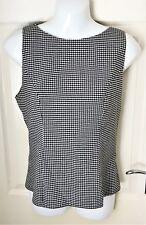 Long Tall Sally Top Gingham Check Black White Sleeveless Shirt Blouse Size 12