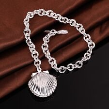925 Stamped Sterling Silver Filled SF Shell Chain Bracelet BL-A289