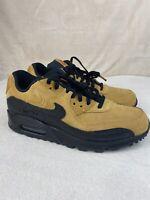 """Nike Air Max 90 Essential """"Wheat Suede"""" AJ1285-700 Wheat Black Men's Sz 7 WM 8.5"""