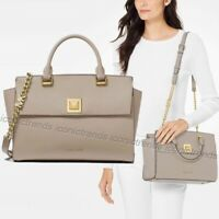 NWT☀️ MICHAEL KORS SYLVIA MEDIUM LEATHER TOP ZIP SATCHEL Crossbody TRUFFLE Beige