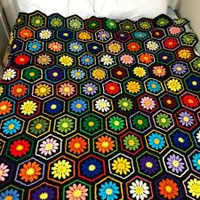 Vintage Afghan Hand Crochet Granny Square Blanket Afghan Flower Hexagons