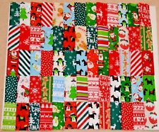 """50 x 4"""" CHRISTMAS FABRIC PATCHWORK SQUARES SCRAPS POLY COTTON SEWING CRAFT"""