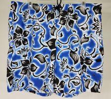 Speedo blue black white hibiscus flower swimming trunks swim shorts mens Large