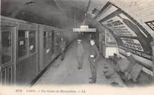 PARIS, FRANCE, METRO RAILROAD STATION INTERIOR, PEOPLE, LL PUB #1758 used 1911