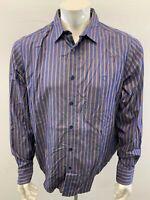 Ben Sherman Beige Blue Striped Men's XL Long Sleeve Button Down Casual Shirt