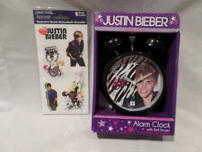 JUSTIN BIEBER , ALARM CLOCK WITH RINGER  2012  PLUS 2 SHEETS OF STICKERS
