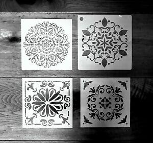 4er Set Schablonen Mandala Set Nr. 43 Shabby Chic Jugendstil Mandala Malen Möbel