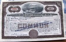 Stock certificate Consolidated Gas Company of New York, 1930's