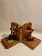 Anchor Rope Bookends Wood Nautical 6 in High 5 in Wide Boat Sailing Mcm Vintage