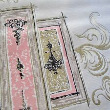100cm x120cm Vintage curtain Fabric 1950s Pink Gold Feather Swirls MCM Retro