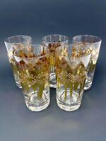 Vintage MCM Set of 5 Tumblers Glasses Gold Splash Unique Vintage