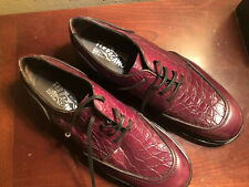 Salvatore Ferragamo 'Monza' Crocodile Leather Shoe Cordovan Mens 10 EE MSRP $960