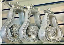 SET OF 3 SILVER PEARS  SET SPARKLE BLING ORNAMENT CRUSHED DIAMOND, HOME DECOR_UK