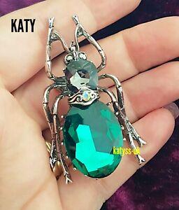 Vintage Look Egyptian Revival Beetle Big Crystal Green Bug BROOCH Silver Broach