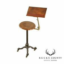 Literary Machine Antique Cast Iron, Brass & Mahogany Adjustable Reading Stand