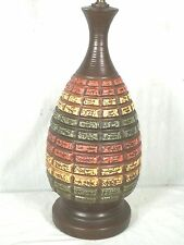 MID CENTURY MODERN 1950's CERAMIC MULTI COLORED BRICK TILE VASE LAMP