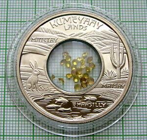 MESA GRANDE KUMEYAAY LANDS 2009 1 $ TOKEN HONEY COLOUR STONES INSERT IN CAPSULE