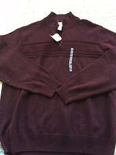 Dockers Men Sweaters Size 2XLarge, Burgundy Color, 100% Cotton, Front Zipper,NWT