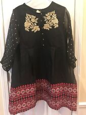 New Agha Noor Formal Organza Embroidered Kurti - Large