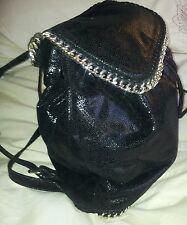 💕💕💕 NEW WITCHERY  Black non leather back pack shoulder bag S/steel 💟💟💟