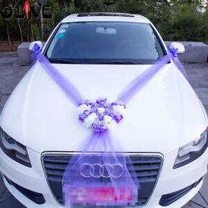 Kit Mariage Complet Décoration coeur violet Voiture Mariés ruban tulle fleurs