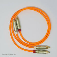 RCA Phono Gold Plated Van Damme Pro Grade Cable Hi Fi Interconnect 50 cm Orange
