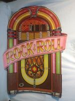 Vintage Die Cut Beistle Co  1988 Cardboard Juke Box Rock Roll BY Clever 2 sided