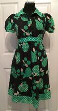 EVA FRANCO Anthropologie Black Green Cream Retro Inspired Dress Silk/Cotton 2