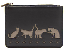 MALA Leather Cat Purse Grey Small Ladies Women's Coin Card Holder Wallet RFID