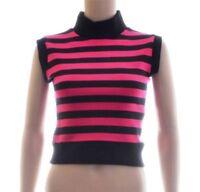 Black Pink Grey Stripe Cropped Crop Short Tank Top Size 8 10 Goth Punk (A32)