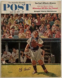 YOGI BERRA Signed April 20, 1957 The Saturday Evening POST - No Label - JSA