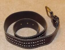 "Leather Belt with Brass Buckle, Black with White detail, 34"" waist"