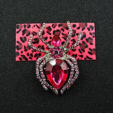 Spider Charm Brooch Pin Gift Betsey Johnson Hot Carmine Cute Rhinestone
