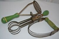 Vintage 1920's Kitchen Utensils Green Wood Handle Egg Beater A&J Masher Pastry