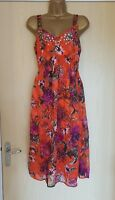 Ex M&S Per Una Orange Floral Chiffon Strappy Lined Summer Dress UK SIZES 10-20