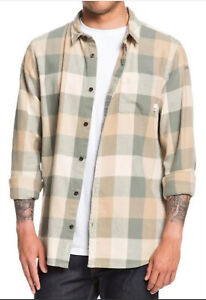 $55 Quiksilver Men's Motherfly Flannel Long Sleeve Button Up Shirt Size S