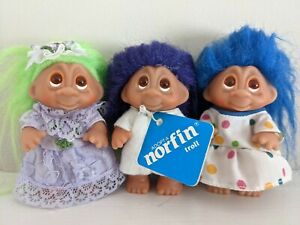 Lot of 3 Thomas Dam 1985 Adopt a Norfin troll dolls in dresses Little Tykes