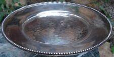 Coupe plate Métal Argenté Martelé cerclée collier de perles signée Jean Desprès