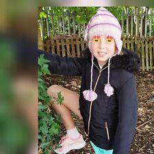 New Ladies Girls Maniyak Winter Peruvian Style Wool Tassle Hat Pink £14.99