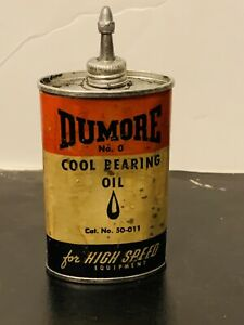 Vintage DUMORE No.0 HI-SPEED BALL BEARING OIL Can Lead Top - A MUST SEE