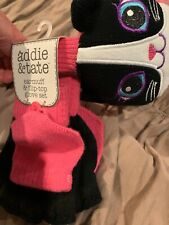 Girls Furry Kitty Cat Earmuff + Glove Set /Mitten Fingerless Glove & Cat Earmuff