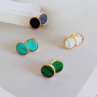 Women Fashion 1Pair Geometric Round Triangle Marble Earrings Ear Stud Jewelry