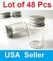 New 48 Pcs 22x50mm Small Clear Message Bottles Glass Vials 10ml With Screw Caps