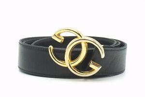 OLD GUCCI Vintage Waist Mark Belt GG Logo Gold Buckle Leather Black 4169k