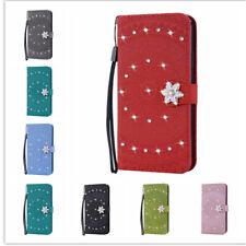 Flip Leather Wallet Card Phone Case Bling Glitter Diamond Flower Kickstand Stap
