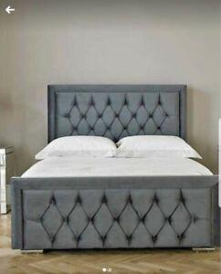 Diamond Plush Velvet Bed Frame Upholstered Double Sleigh FAST & FREE