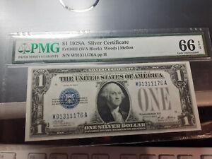 $1 1928A SILVER CERTIFICATE NOTE PMG 66 EPQ UNC  Fr. 1601 WA BLOCK FUNNY BACK